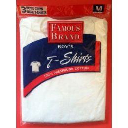 48 Bulk Famous Brand Boy's 3- Pack White Crew Neck T-Shirts