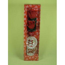 72 Bulk Valentines Day Porcelain Decoration Two Red Rose Mug Set
