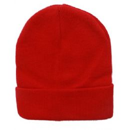 48 Bulk Unisex Solid Red Winter Beanie Hat 12 Inch