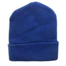 36 Bulk Royal Blue Beanie 12 Inch