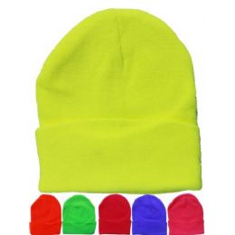 36 Bulk Solid Color Mix Neon Beanie Hats 12 Inch