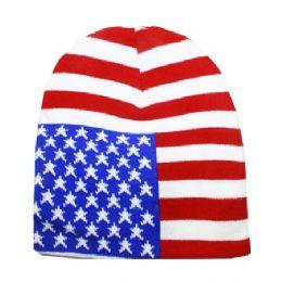 36 Bulk American Flage Beanie Hat