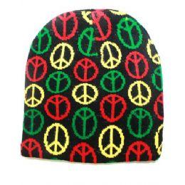 36 Bulk Peace Sign Winter Beanie Hat