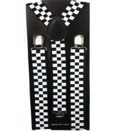 48 Bulk Checkered Suspender In Black And White