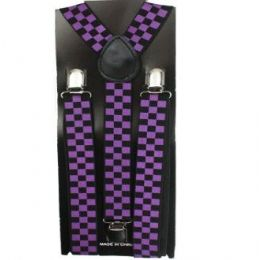 48 Bulk Checkered Suspender In Purple And Black