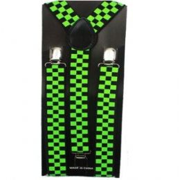 48 Bulk Checkered Black And Green Suspender
