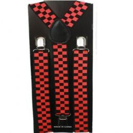 48 Bulk Checkered Black And Red Suspender