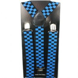 48 Bulk Checkered Blue And Blue Suspender