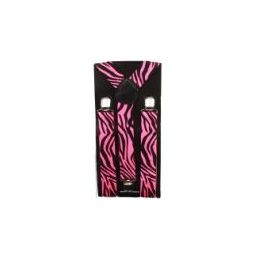 36 Bulk Pink Zebra Suspender In Adult Size