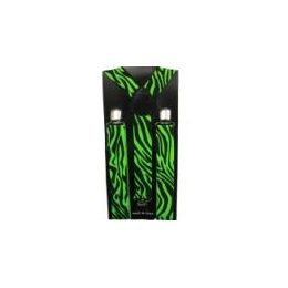 96 Bulk Adult Green And Black Zebra Print Suspender