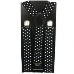 48 Bulk Black Suspenders With White Dots