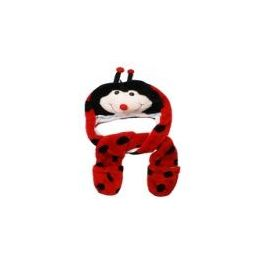 12 Bulk Cute Plush Ladybug Animal Character Builtin Paws Mittens Hat