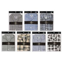 36 Bulk Men's Cotton Pajamas With Short Sleeves And Long Pants 100% Cotton