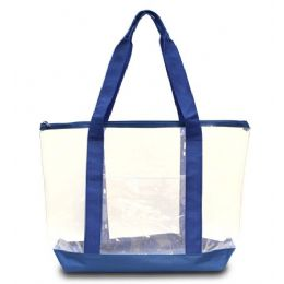 50 Bulk Clear Tote Bag Clear/royal