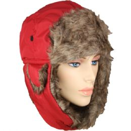 36 Bulk Pilot Hat In Red With Faux Fur Lining And Strap