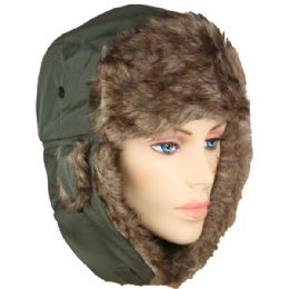 36 Bulk Pilot Hat In Green With Faux Fur Lining And Strap