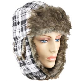 24 Bulk White Plaid Winter Pilot Hat With Faux Fur Lining And Strap