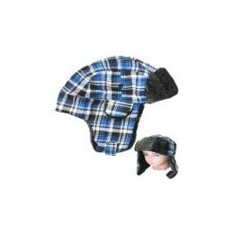 48 Bulk Blue Plaid Winter Pilot Hat With Faux Fur Lining And Strap