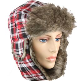 12 Bulk Red Plaid Winter Pilot Hat With Faux Fur Lining And Strap