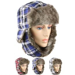 48 Bulk Assorted Plaid Winter Pilot Hat With Faux Fur Lining And Strap