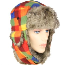 36 Bulk Rainbow Colored Winter Pilot Hat With Faux Fur Lining And Strap