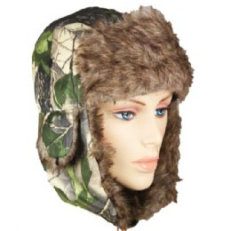 36 Bulk Camo Colored Winter Pilot Hat With Faux Fur Lining And Strap