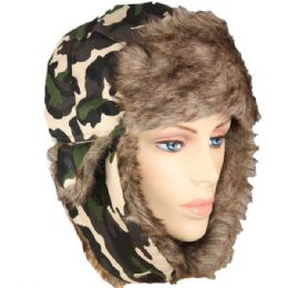 36 Bulk Army Printed Winter Pilot Hat With Faux Fur Lining And Strap