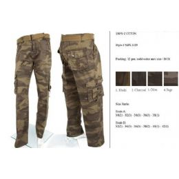 12 Bulk Men's Fashion Cargo Camouflage Pants 100% Cotton