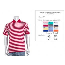 36 Bulk Men's Fashion Y/d Stripe Polo Shirt In Size Chart A Only