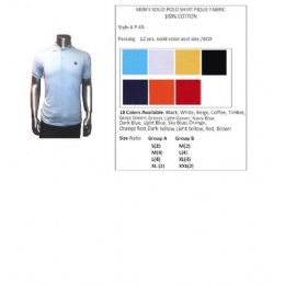 48 Bulk Men's Solid Polo Shirt Pique Fabric 100% Cotton In Size Chart In A