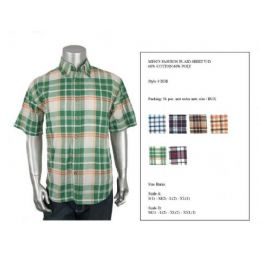 36 Bulk Mens Fashion Plaid Button Down Shirt Y/d 60% Cotton 40% Poly Size Scale B Only