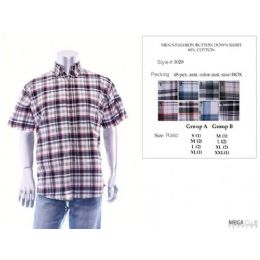 48 Bulk Mens Fashion Button Down Shirts 60% Cotton Size Scale B Only