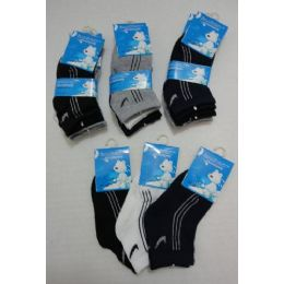 60 Bulk 3pr Boys Quarter Socks 1-2y [three Colors]