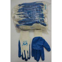 30 Bulk Blue Latex Dipped Work Gloves