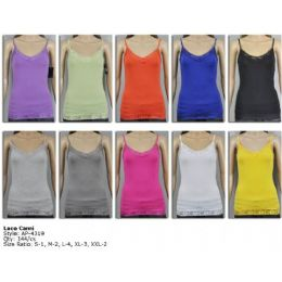 144 Bulk Ladies Lace White Color Only Tank Top
