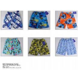 72 Bulk Printed Boy's Swim Trunks