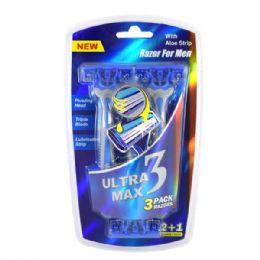 24 Bulk Ultra Max Razor 3 Pack Blue Men