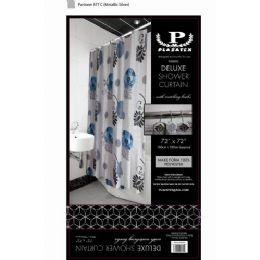 12 Bulk Black Blue And White Deluxe Shower Curtain