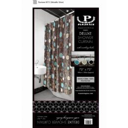 12 Bulk Brown Circles Deluxe Shower Curtain