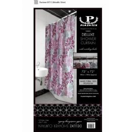 12 Bulk Pink Silver Burst Deluxe Shower Curtain