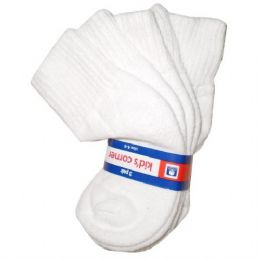 120 Bulk White Cotton Kids Ankle Socks Size 4-6 3 Pack