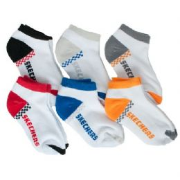 72 Bulk Infant Boys Or Girls Sketchers 6 Pack Ankle Socks Size