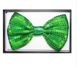 48 Bulk Green Sequined Bow Tie 025
