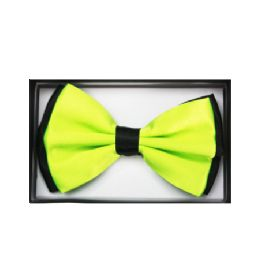 48 Bulk Two Tone Lime Green Bow Tie 034