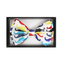 48 Bulk White Bow Tie W/ Colorful Mustaches