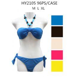 48 Bulk Ladies Solid Color 2pc Swim Set