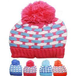 72 Bulk Kid Winter Hat Assorted Color With Pom Pom