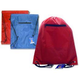 "144 Bulk Bag Backpack 13x16.25""w/zipper Blue,red,black Clr"