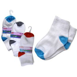 288 Bulk Socks 3 Pair Boy's 2-9red+bl+grey