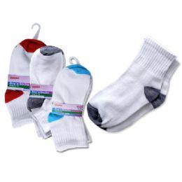 288 Bulk Socks 3 Pair Boy's 3-10yred+bl+grey